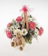 Plush Bear and Flowers (No Carnations)