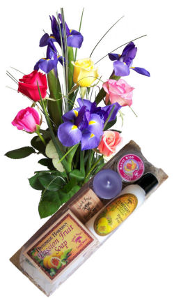 Send flowers online international -LocalStreets- Flower delivery,florists:Barely Bouquet & Bamboo Bath Gift Set