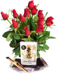 USA Good Fortune Candle & Bouquet USA,,:Good Fortune Candle & Simply Roses
