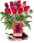 USA Good Fortune Candle & Bouquet USA,,:Good Fortune Candle & Rose Bouquet
