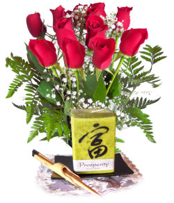 Good Fortune Candle & Rose Bouquet
