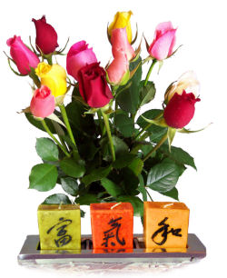Send flowers online international -LocalStreets- Flower delivery,florists:Karmic Candle Set & Simply Roses