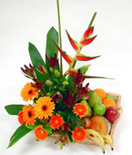 New Zealand Flower New Zealand Florist  New Zealand  Flowers shop New Zealand flower delivery online  :FRUIT AND FLOWER BASKET