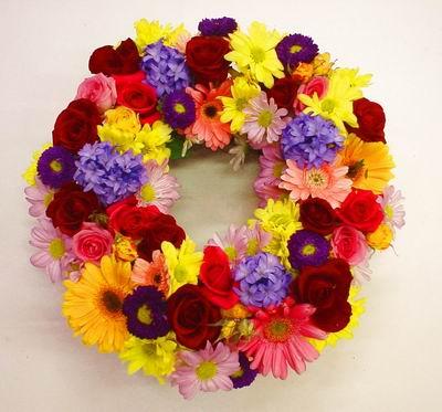 New Zealand Flowers New Zealand flower New Zealand florists :COLOURFUL WREATH