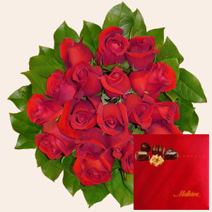 Portugal Flower Portugal Florist  Portugal  Flowers shop Portugal flower delivery online  :Roses & Chocolates ( 18 Roses )