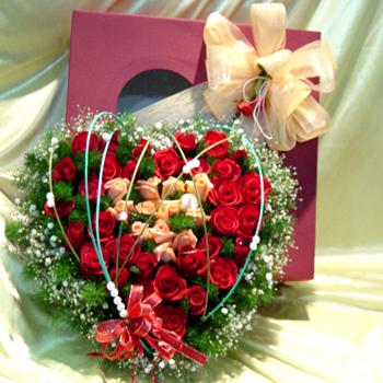 Livraison Fleurs Corée du Sud fleuriste Corée du Sud,fleurs de Corée du Sud Livraison fleurs Corée du Sud:LocalStreets:Heart Box -3