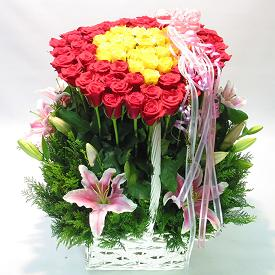 S.Korea Flower S.Korea Florist  S.Korea  Flowers shop S.Korea flower delivery online  ,S.Korea:Heart Basket
