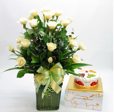 White Rose Basket with Cake