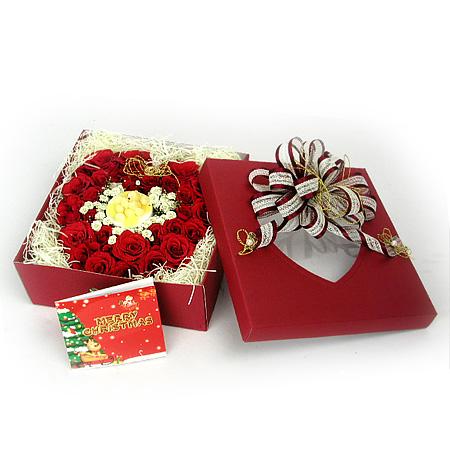 Livraison Fleurs Corée du Sud fleuriste Corée du Sud,fleurs de Corée du Sud Livraison fleurs Corée du Sud:LocalStreets:Christmas Rose Box-2