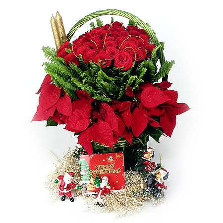 S.Korea X-MAS S.Korea,,S.Korea:Christmas Rose Basket-1
