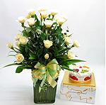 S.Korea X-MAS S.Korea,,S.Korea:White Rose Basket with Cake