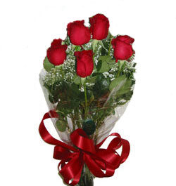 Ukraine Flower Ukraine Florist  Ukraine  Flowers shop Ukraine flower delivery online  :Composition of 5 Long-Stem Roses surrounded by greenery!