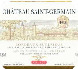 China Wines China,,China:Calvet Chateau ST-Germain, Bordeaux Superieur