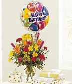 Barbados Mixed Flowers Barbados,:Birthday Mixed Balloon Bouquet