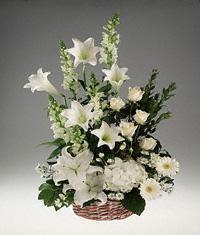 Sympathy Basket arrangement of mixed white flowers