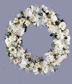 Finland Sympathy Finland,:Sympathy Wreath All White Flowers Arrangement